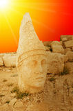 Mount Nemrut the head in front of the statues. Royalty Free Stock Photos