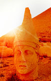Mount Nemrut the head in front of the statues. Royalty Free Stock Photography