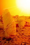 Mount Nemrut the head in front of the statues. Stock Photos