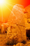 Mount Nemrut the head in front of the statues. Royalty Free Stock Images