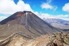Mount Ngauruhoe and Mt. Ruapehu Royalty Free Stock Image