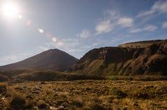 Mount Ngauruhoe with sun glare. Tongariro National Park, New Zealand Royalty Free Stock Photo