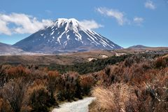 Mount Ngauruhoe in Tongariro National Park stock images