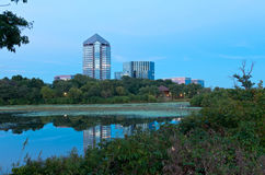 Mount Normandale Lake and Buildings Stock Photography