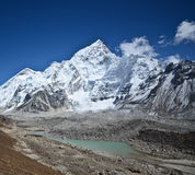 Mount Nuptse above a lake Stock Photo