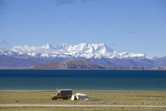 Mount Nyainqntanglha and lake Namtso Stock Photography