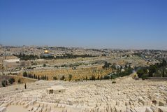 Mount of Olives. View from the Mount of Olives looking towards the Dome of the Rock and Old city walls Jerusalem Israel Stock Photo
