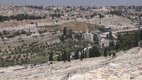 Mount of Olives Dome of the Rock Mosque on Temple Mount with Jerusalem old cityskyline stock video