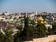 Mount of Olives in Jerusalem. Golden domes of the Church St. Mar stock image