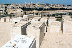 Mount of Olives Jewish Cemetery in Jerusalem Israel Royalty Free Stock Images