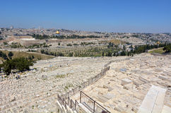 Mount of Olives Jewish Cemetery in Jerusalem - Israel Stock Photo