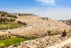 Mount of Olives och den gamla judiska kyrkogården i Jerusalem, Israel Royaltyfria Bilder