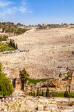 Mount of Olives and the old Jewish cemetery in Jerusalem, Israel. Benei Hezir Tomb and Absalom's Tomb foreground Royalty Free Stock Image