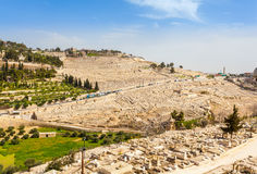 Mount of Olives and the old Jewish cemetery in Jerusalem, Israel. Benei Hezir Tomb and Absalom's Tomb foreground Royalty Free Stock Images