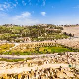 Mount of Olives and the old Jewish cemetery in Jerusalem, Israel Stock Photography