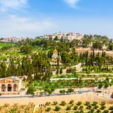 Mount of Olives and the old Jewish cemetery in Jerusalem, Israel Stock Photo