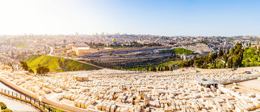 Mount of Olives and the old Jewish cemetery in Jerusalem, Israel Stock Photos