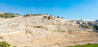 Mount of Olives. A panorama photo of the Mount of Olives in downtown Jerusalem. Most of its slopes are currently used as a burial grounds given its religious Royalty Free Stock Images