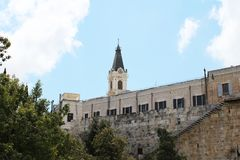 Panoramic view on Mount of Olives, Russian Orthodox Church of Ascencion, Jerusalem, Israel royalty free stock images