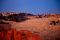 Mount of Olives after sunset Stock Photography