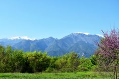 Mount Olympus, highest mountain in Greece. Mount Olympus is the highest mountain in Greece. It is located in the Olympus Range on the border between Thessaly and royalty free stock photo