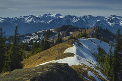 Mount Olympus view Washington state. Majestic, scenic Mt Olympus viewed from Klahane Ridge near Hurricane Ridge. Located in Olympic National Park, Washington stock image