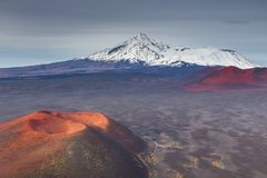 Mount Ostry Tolbachik, the highest point of volcanic complex on the Kamchatka, Russia. stock image