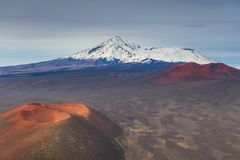 Mount Ostry Tolbachik, the highest point of volcanic complex on the Kamchatka, Russia. royalty free stock photos