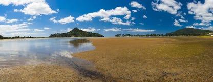 Mount Paku. Seen from Tairua town, Coromandel Peninsula, New Zealand. Panorama Royalty Free Stock Photos