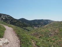 Mount Parnitha National Park: Hiking trail, near Athens, Greece. Hiking and mountain biking trail in Parnitha National Park, near Athens, Greece, looking towards stock image