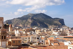 Mount Pellegrino and roofs. Sicily, Palermo. Mount Pellegrino and City centre landscape Stock Image