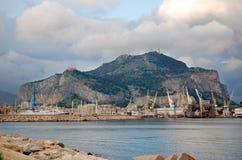 Mount Pellegrino. Sicily, Palermo. Mount Pellegrino and the port Royalty Free Stock Photo