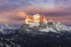 Mount Pelmo during sunrise Royalty Free Stock Photos