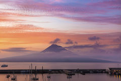Mount Pico at sunrise. Mount Pico, Island of Pico, Azores, at sunrise Stock Image