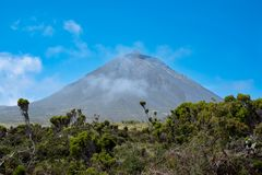 Mount Pico volcano in the Azores stock photography