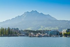 Mount Pilatus on Lake Lucerne in Switzerland Royalty Free Stock Photos