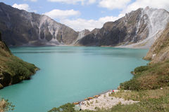 Mount Pinatubo Crater. Scenic view of the crater of Mount Pinatubo (People in photo are not recognizable Royalty Free Stock Photos