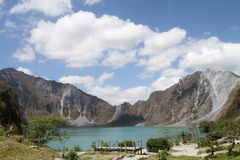 Mount Pinatubo Crater. Scenic view of the crater of Mt. Pinatubo in the Philippines with an empty observation deck in the foreground Stock Images