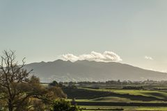 Mount Pirongia. Pre Sunset image of Mount Pirongia and the Waikato. Taken from Te Awamutu, New Zealand stock photography