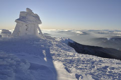 Mount Pop Ivan on the Montenegrin ridge. Peak Mount Pop Ivan on the Montenegrin ridge. Winter hiking in the Montenegrin ridge 2017 Morning landscape royalty free stock photos
