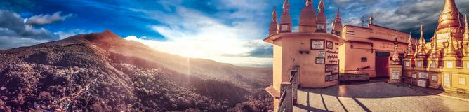 Mount Popa Panorama Peak Myanmar. Mount Popa is a volcano 1518 metres above sea level, and located in central Myanmar in the region of Mandalay about 50 km Stock Image