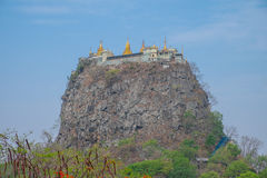 Mount Popa Temple. Incredible monastery perched on the top of cliff, Myanmar royalty free stock photo