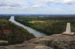 Mount Portal Lookout, Australia. Mount Portal Lookout with views north east overlooking the Nepean River, Penrith and beyond to Sydney 50 km away Stock Image