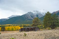 Mount Princeton and Cabin in Autumn royalty free stock images