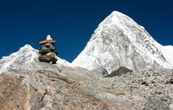 Mount Pumo Ri and stone man - Nepal Royalty Free Stock Photo