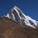 Mount Pumori and trail leading towards Kala Patthar Stock Photos