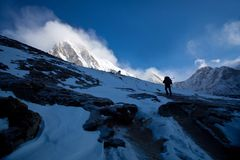Mount Pumori view in Sagarmatha National Park Royalty Free Stock Image