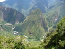 Mount putucusi at urubamba valley seen from machu picchu Stock Photo