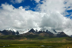 Mount Qomo. Landscape with Mount Qomo in the background, Tibet Stock Photography