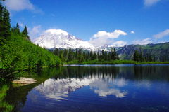 Mount Rainer from Bench lake. Stock Photos